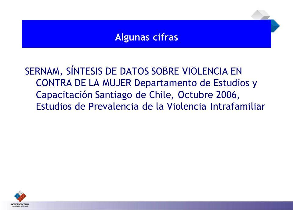 Algunas cifras SERNAM, SÍNTESIS DE DATOS SOBRE VIOLENCIA EN CONTRA DE LA MUJER Departamento de Estudios y Capacitación Santiago de Chile, Octubre 2006