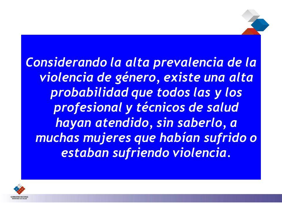 Considerando la alta prevalencia de la violencia de género, existe una alta probabilidad que todos las y los profesional y técnicos de salud hayan ate
