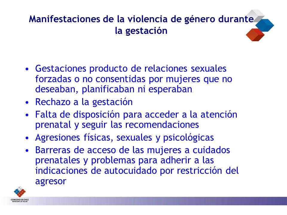 Manifestaciones de la violencia de género durante la gestación Gestaciones producto de relaciones sexuales forzadas o no consentidas por mujeres que n