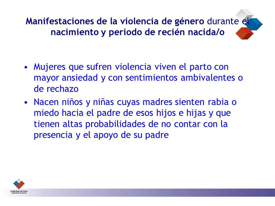 Manifestaciones de la violencia de género durante el nacimiento y periodo de recién nacida/o Mujeres que sufren violencia viven el parto con mayor ans