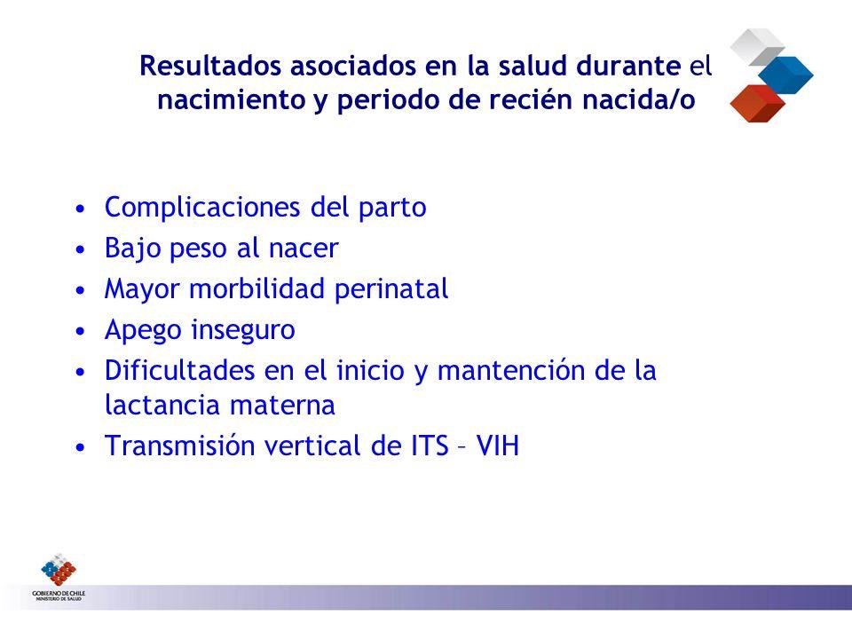 Resultados asociados en la salud durante el nacimiento y periodo de recién nacida/o Complicaciones del parto Bajo peso al nacer Mayor morbilidad perin