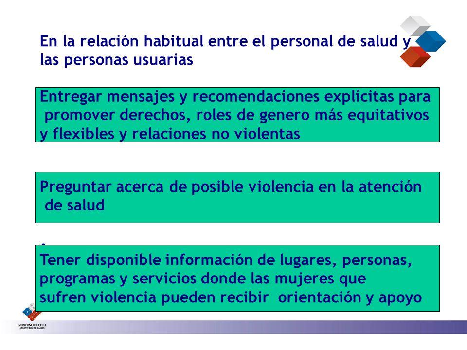 En la relación habitual entre el personal de salud y las personas usuarias. Entregar mensajes y recomendaciones explícitas para promover derechos, rol