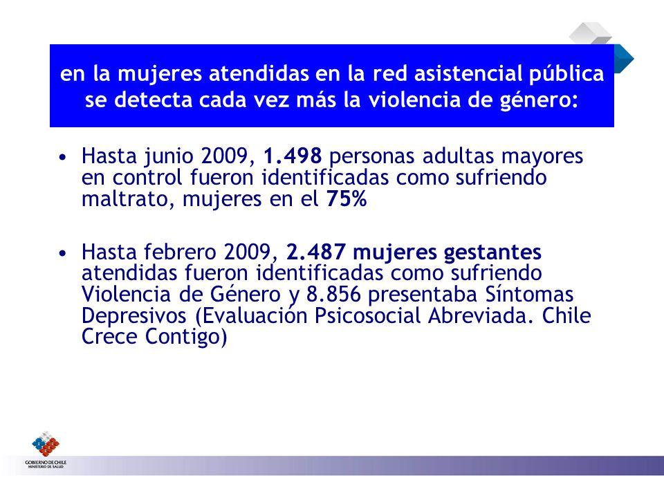en la mujeres atendidas en la red asistencial pública se detecta cada vez más la violencia de género: Hasta junio 2009, 1.498 personas adultas mayores
