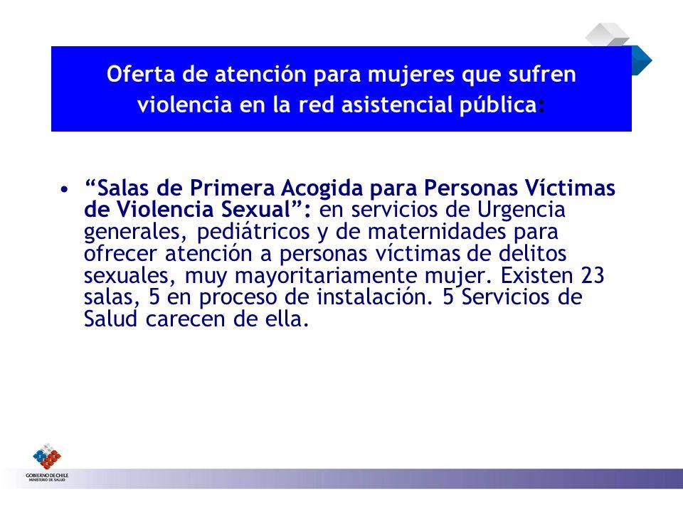 Oferta de atención para mujeres que sufren violencia en la red asistencial pública : Salas de Primera Acogida para Personas Víctimas de Violencia Sexu