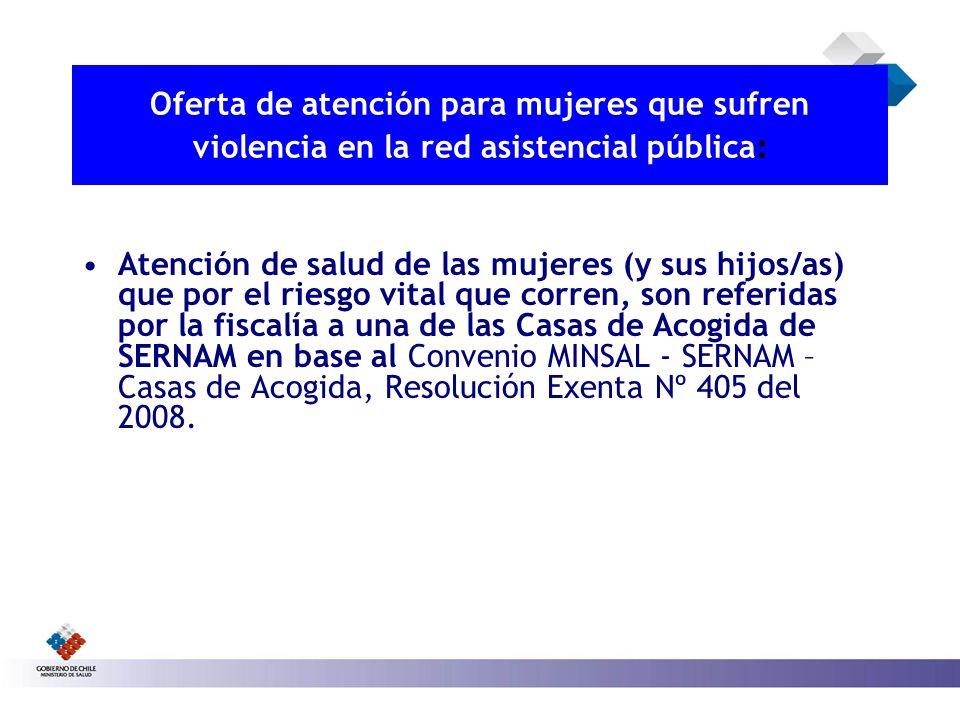 Atención de salud de las mujeres (y sus hijos/as) que por el riesgo vital que corren, son referidas por la fiscalía a una de las Casas de Acogida de S