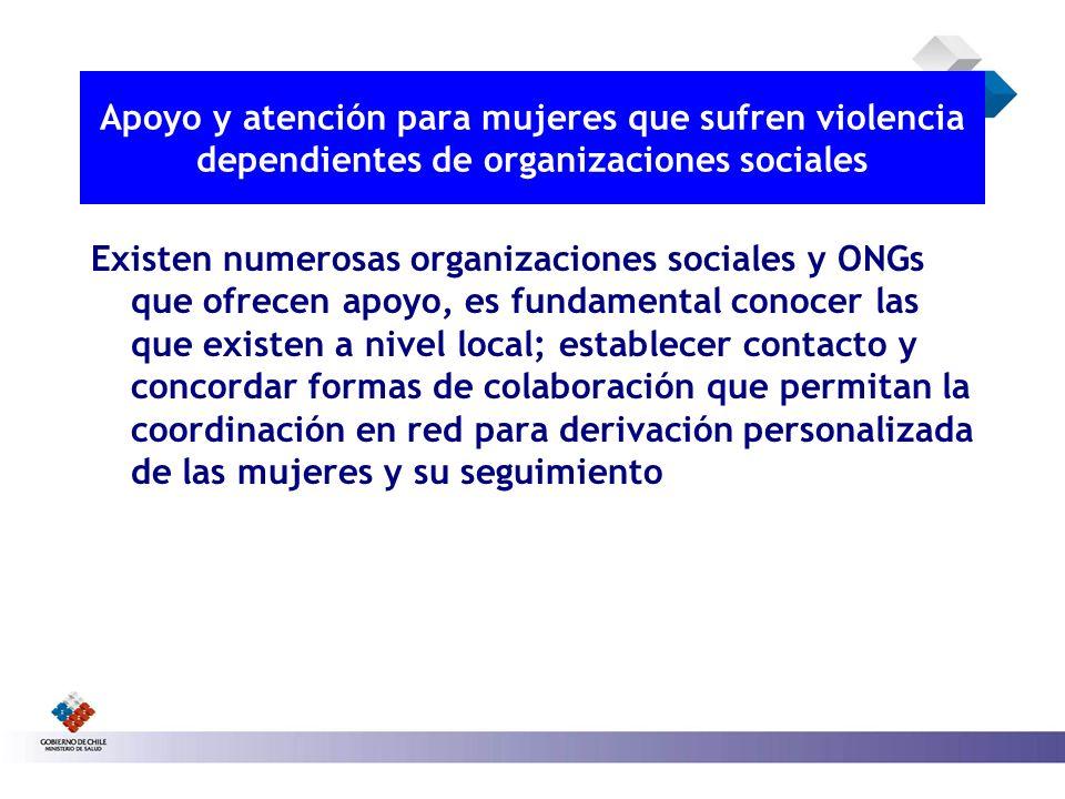 Apoyo y atención para mujeres que sufren violencia dependientes de organizaciones sociales Existen numerosas organizaciones sociales y ONGs que ofrece