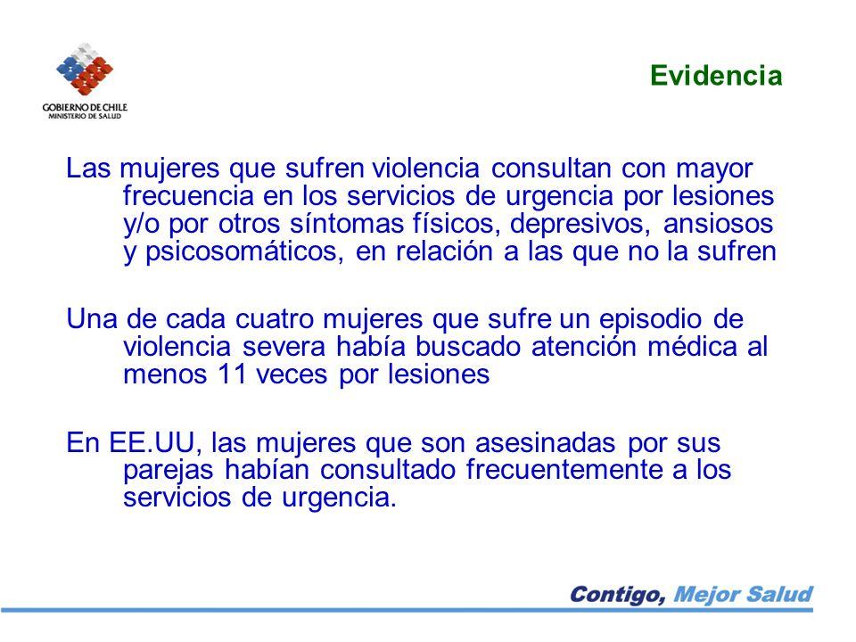Evidencia Las mujeres que sufren violencia consultan con mayor frecuencia en los servicios de urgencia por lesiones y/o por otros síntomas físicos, de