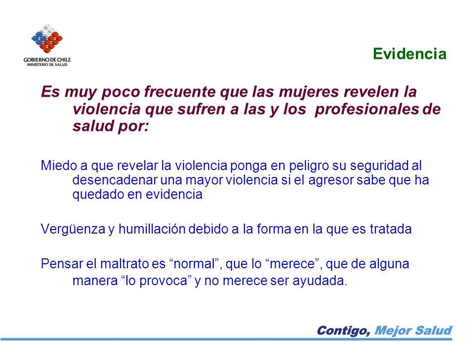Evidencia Es muy poco frecuente que las mujeres revelen la violencia que sufren a las y los profesionales de salud por: Miedo a que revelar la violenc