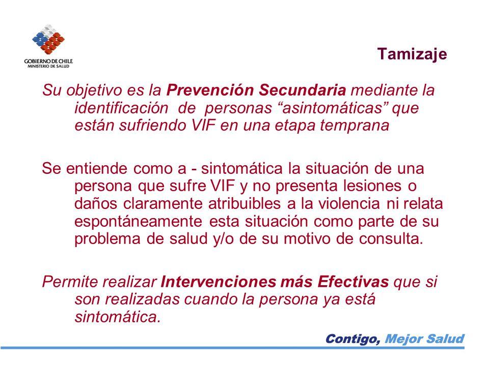 Tamizaje Su objetivo es la Prevención Secundaria mediante la identificación de personas asintomáticas que están sufriendo VIF en una etapa temprana Se