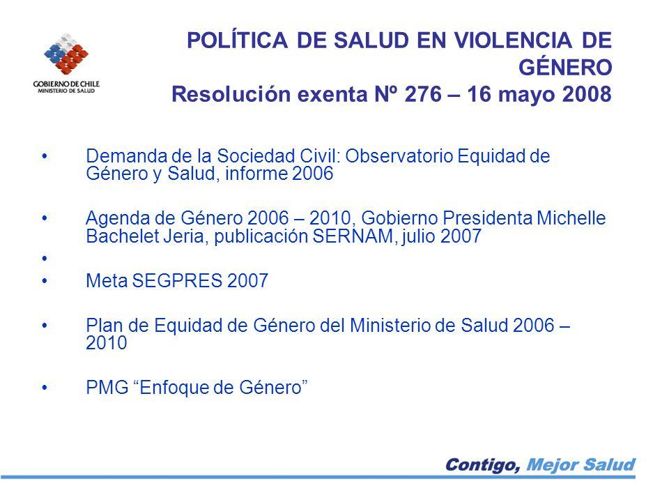POLÍTICA DE SALUD EN VIOLENCIA DE GÉNERO Resolución exenta Nº 276 – 16 mayo 2008 Demanda de la Sociedad Civil: Observatorio Equidad de Género y Salud,