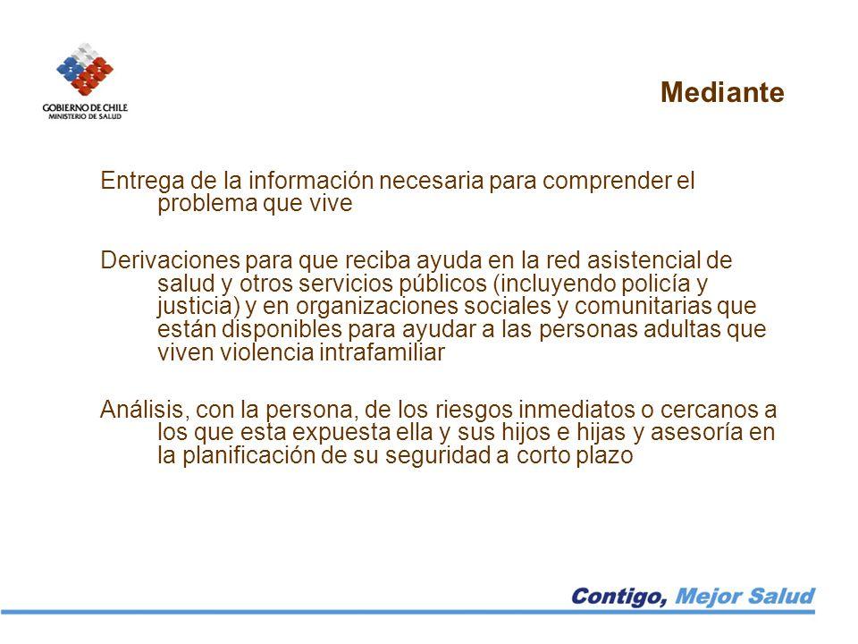 Mediante Entrega de la información necesaria para comprender el problema que vive Derivaciones para que reciba ayuda en la red asistencial de salud y