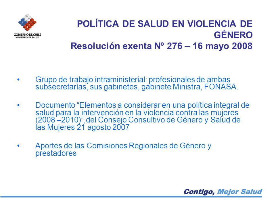 POLÍTICA DE SALUD EN VIOLENCIA DE GÉNERO Resolución exenta Nº 276 – 16 mayo 2008 Grupo de trabajo intraministerial: profesionales de ambas subsecretar