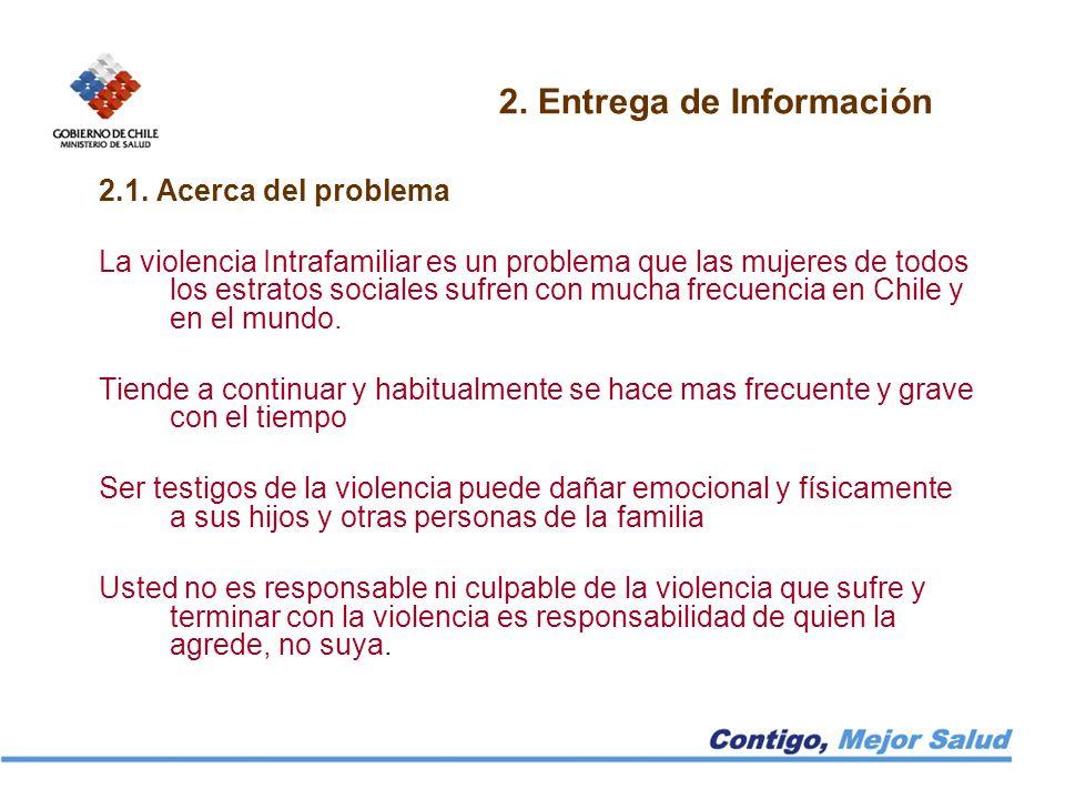 2. Entrega de Información 2.1. Acerca del problema La violencia Intrafamiliar es un problema que las mujeres de todos los estratos sociales sufren con
