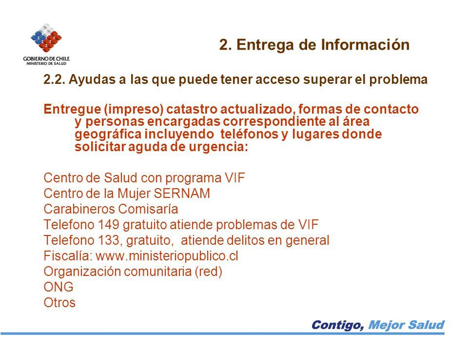 2. Entrega de Información 2.2. Ayudas a las que puede tener acceso superar el problema Entregue (impreso) catastro actualizado, formas de contacto y p