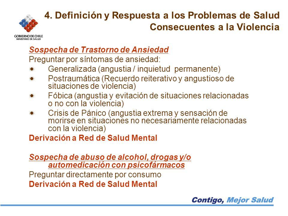 4. Definición y Respuesta a los Problemas de Salud Consecuentes a la Violencia Sospecha de Trastorno de Ansiedad Preguntar por síntomas de ansiedad: G