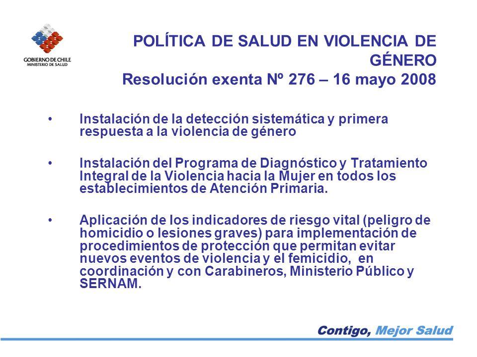 POLÍTICA DE SALUD EN VIOLENCIA DE GÉNERO Resolución exenta Nº 276 – 16 mayo 2008 Instalación de la detección sistemática y primera respuesta a la viol