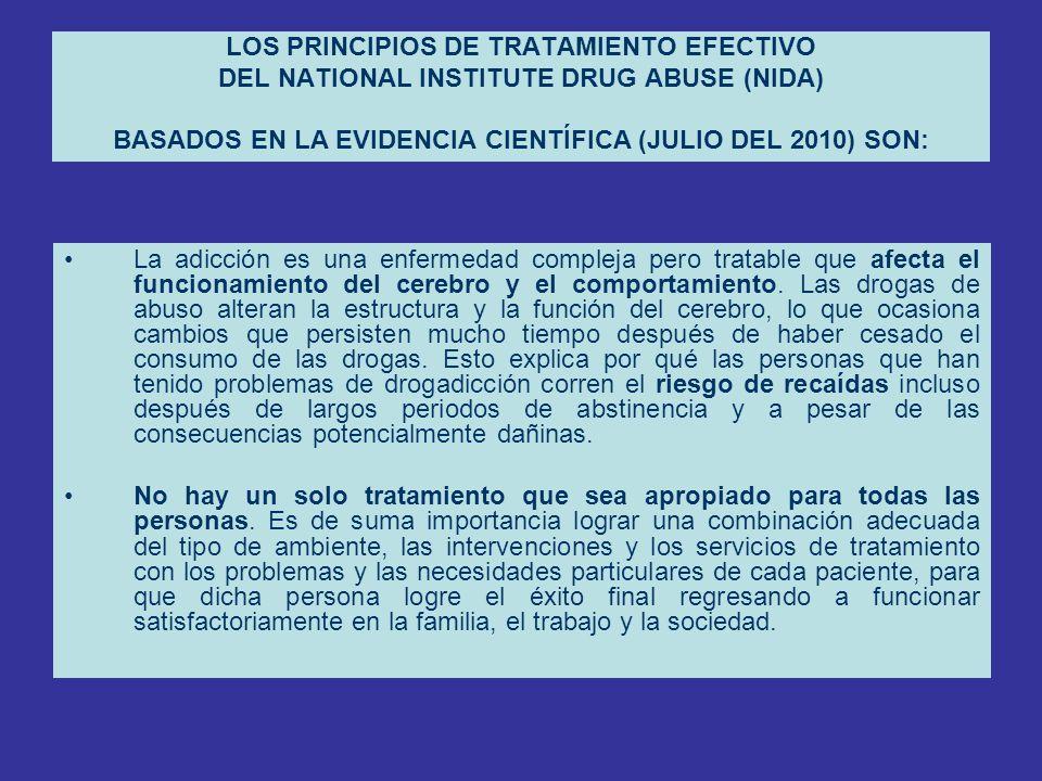 LOS PRINCIPIOS DE TRATAMIENTO EFECTIVO DEL NATIONAL INSTITUTE DRUG ABUSE (NIDA) BASADOS EN LA EVIDENCIA CIENTÍFICA (JULIO DEL 2010) SON: La adicción e