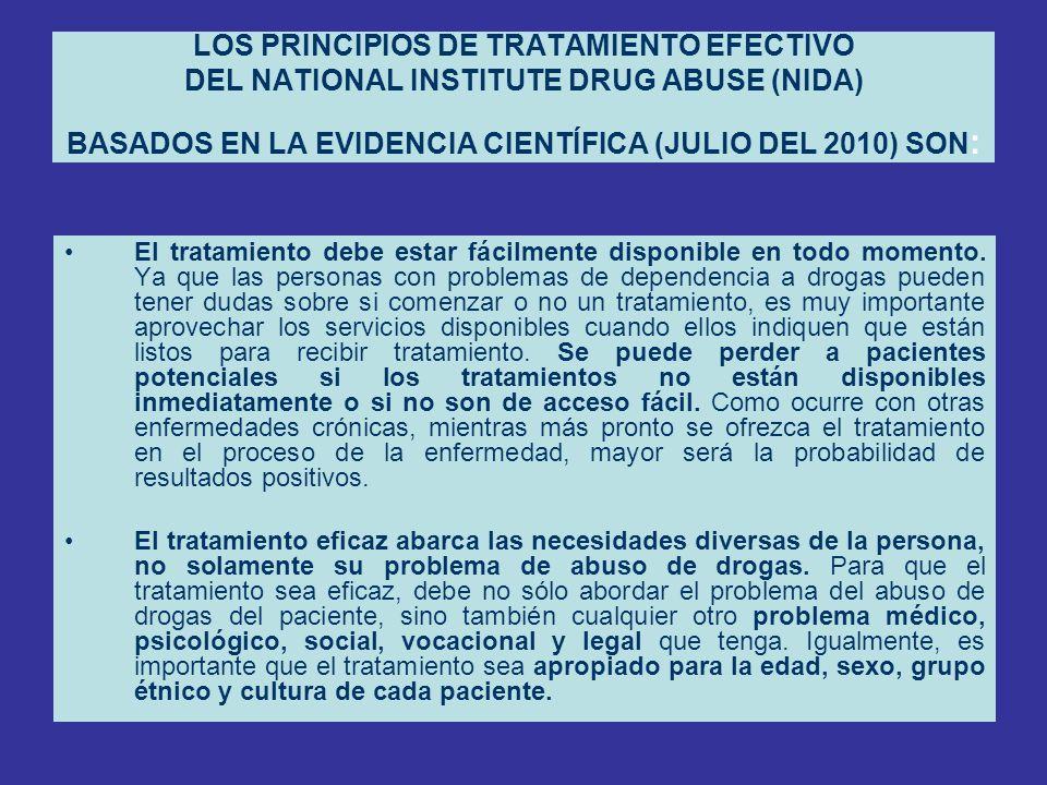 LOS PRINCIPIOS DE TRATAMIENTO EFECTIVO DEL NATIONAL INSTITUTE DRUG ABUSE (NIDA) BASADOS EN LA EVIDENCIA CIENTÍFICA (JULIO DEL 2010) SON : El tratamien