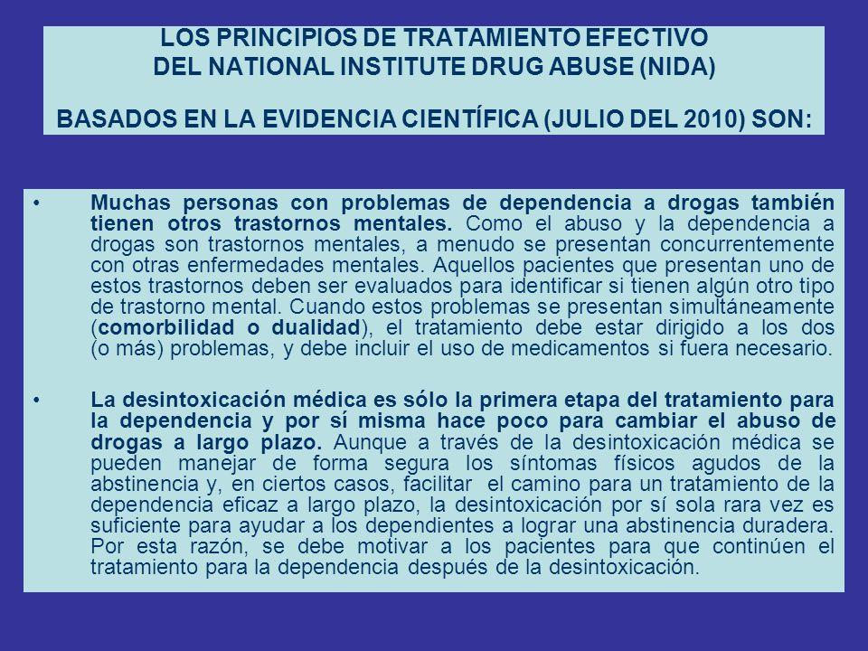 LOS PRINCIPIOS DE TRATAMIENTO EFECTIVO DEL NATIONAL INSTITUTE DRUG ABUSE (NIDA) BASADOS EN LA EVIDENCIA CIENTÍFICA (JULIO DEL 2010) SON: Muchas person
