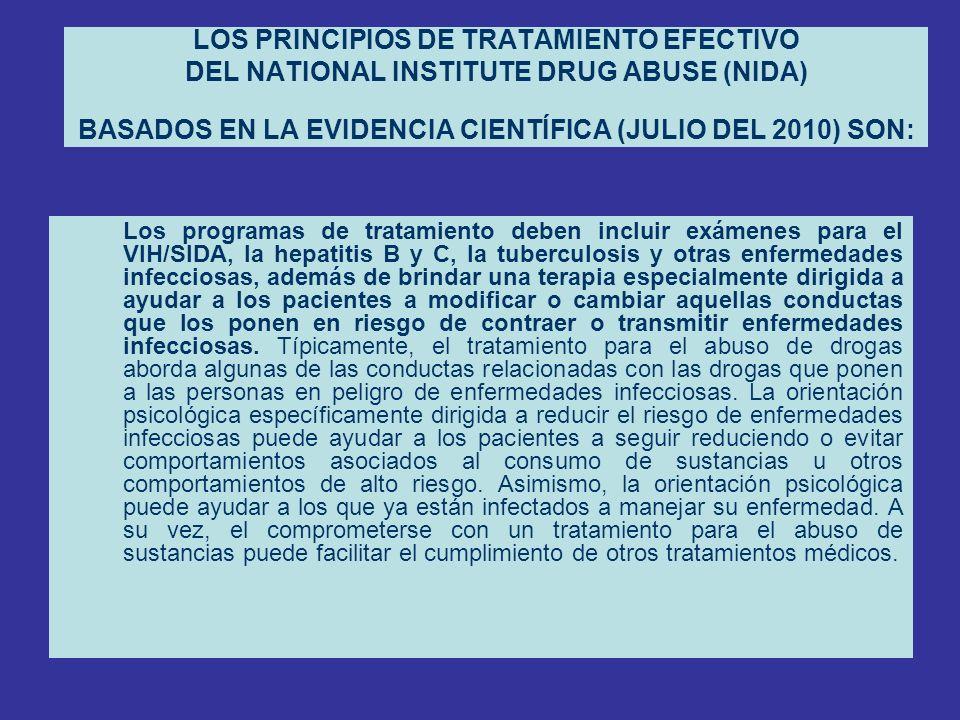 LOS PRINCIPIOS DE TRATAMIENTO EFECTIVO DEL NATIONAL INSTITUTE DRUG ABUSE (NIDA) BASADOS EN LA EVIDENCIA CIENTÍFICA (JULIO DEL 2010) SON: Los programas