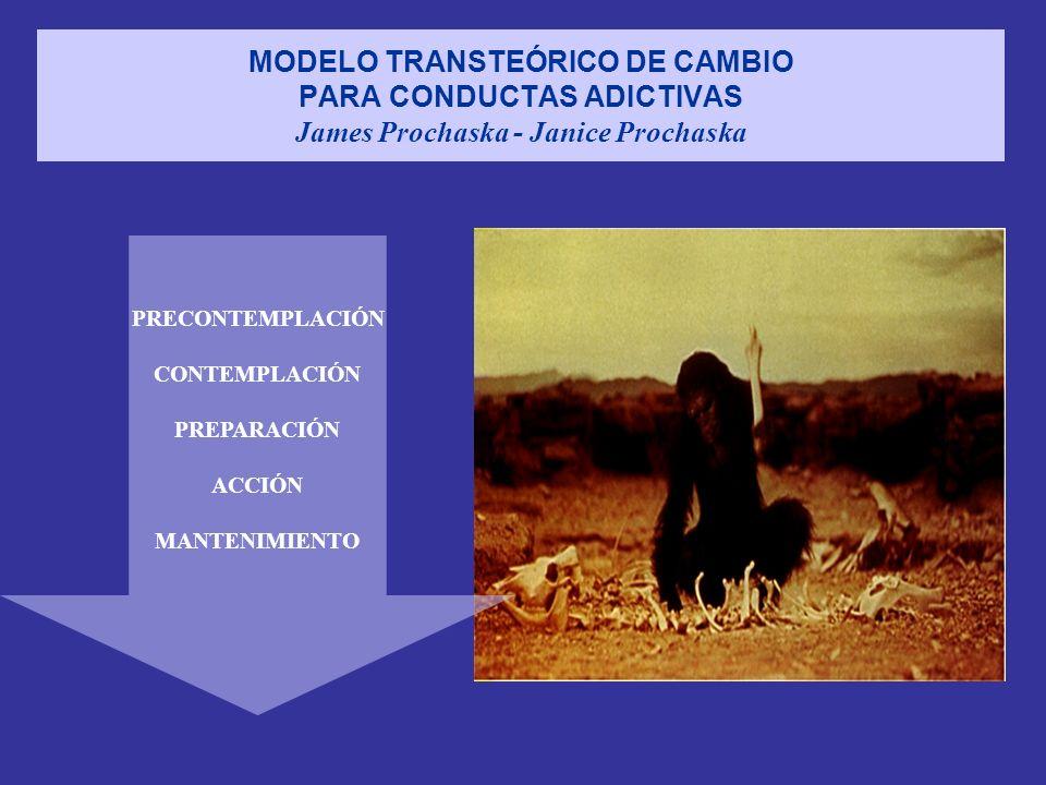 MODELO TRANSTEÓRICO DE CAMBIO PARA CONDUCTAS ADICTIVAS James Prochaska - Janice Prochaska PRECONTEMPLACIÓN CONTEMPLACIÓN PREPARACIÓN ACCIÓN MANTENIMIE