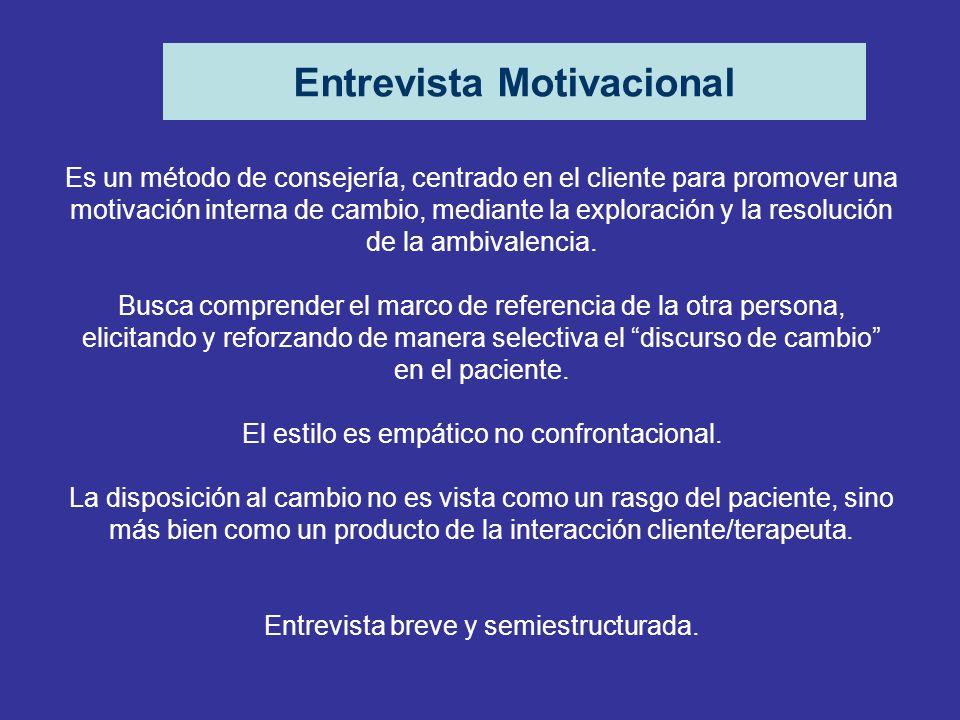 Entrevista Motivacional Es un método de consejería, centrado en el cliente para promover una motivación interna de cambio, mediante la exploración y l