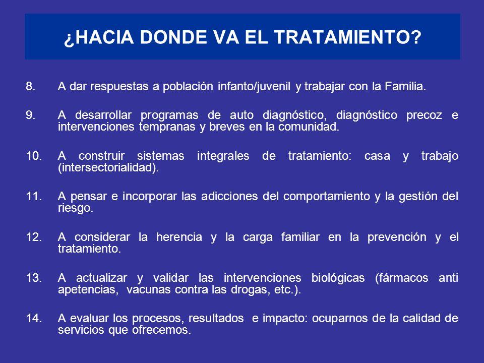 ¿HACIA DONDE VA EL TRATAMIENTO? 8.A dar respuestas a población infanto/juvenil y trabajar con la Familia. 9.A desarrollar programas de auto diagnóstic