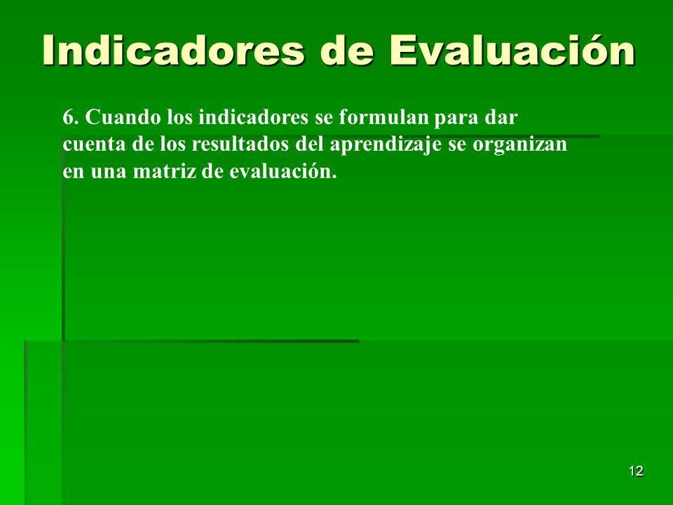 12 6. Cuando los indicadores se formulan para dar cuenta de los resultados del aprendizaje se organizan en una matriz de evaluación. Indicadores de Ev
