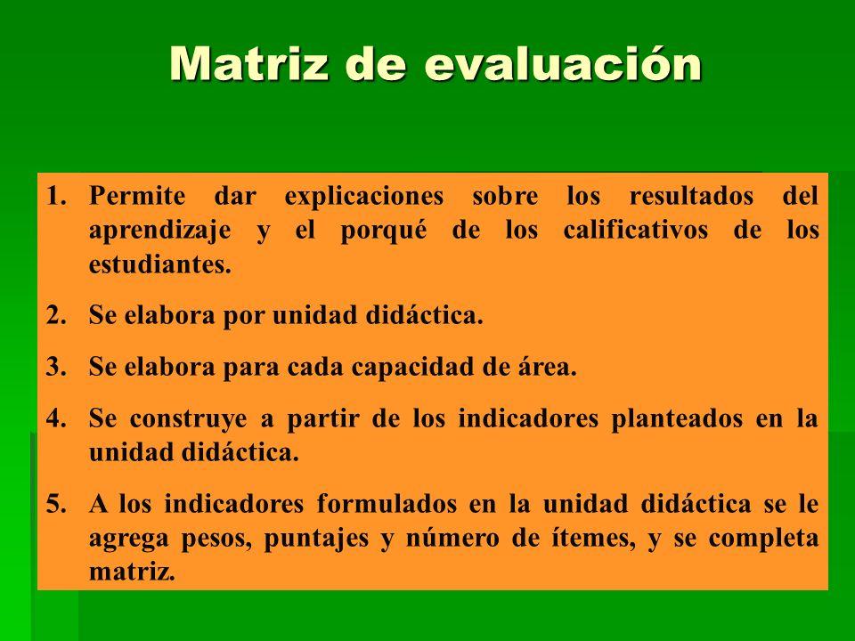 Matriz de evaluación Matriz de evaluación 1.Permite dar explicaciones sobre los resultados del aprendizaje y el porqué de los calificativos de los est