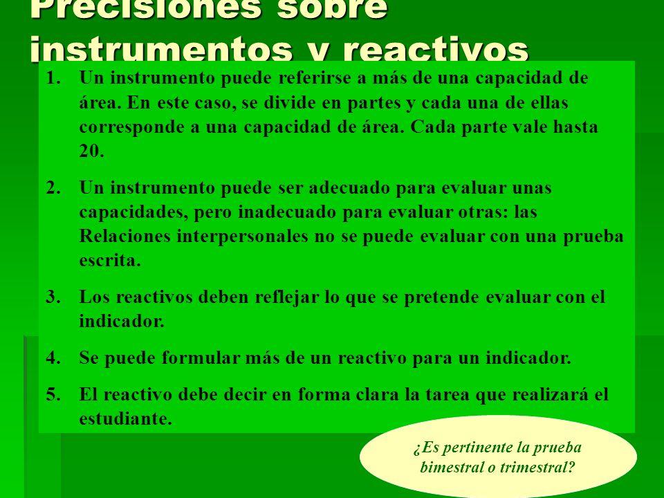 Precisiones sobre instrumentos y reactivos 1.Un instrumento puede referirse a más de una capacidad de área. En este caso, se divide en partes y cada u