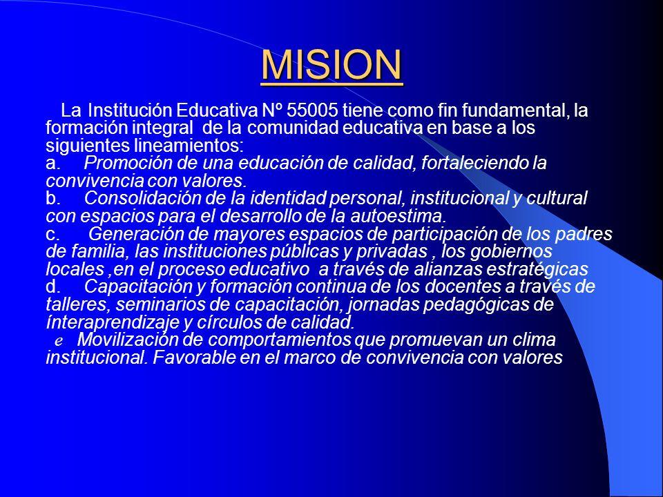 VISIÓN La Institución Educativa, N° 55005 pretende ser líder y emblemática en el servicio educativo donde sus pobladores acceden a servicios educativos de calidad,donde se imparte una formación acorde con la realidad sociocultural, que permite tener una identidad cultural fortalecida.