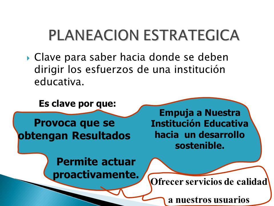 Clave para saber hacia donde se deben dirigir los esfuerzos de una institución educativa. Es clave por que: Provoca que se obtengan Resultados Empuja