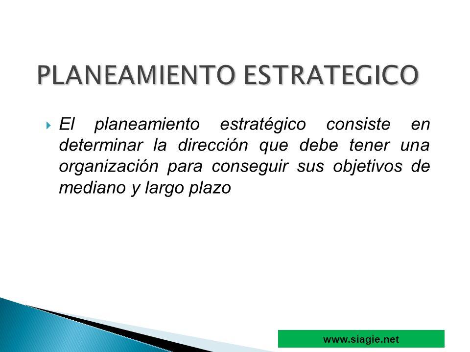 El planeamiento estratégico consiste en determinar la dirección que debe tener una organización para conseguir sus objetivos de mediano y largo plazo