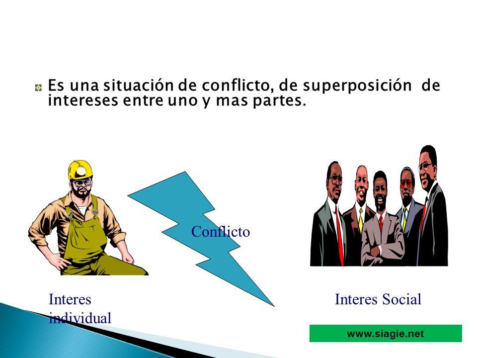 Es una situación de conflicto, de superposición de intereses entre uno y mas partes. Interes individual Interes Social Conflicto www.siagie.net