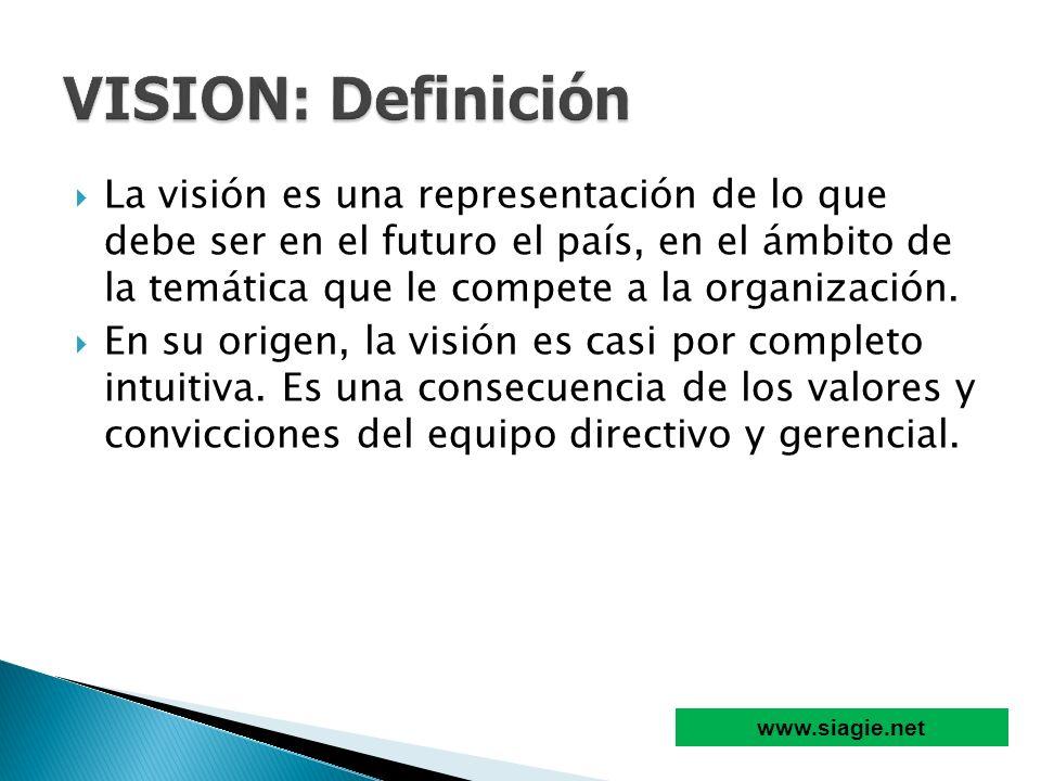 La visión es una representación de lo que debe ser en el futuro el país, en el ámbito de la temática que le compete a la organización. En su origen, l