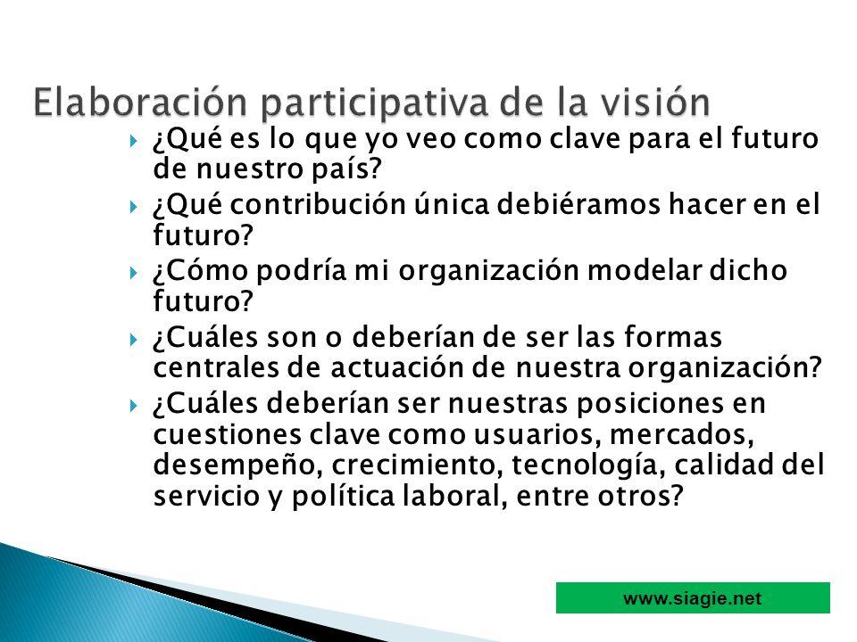 ¿Qué es lo que yo veo como clave para el futuro de nuestro país? ¿Qué contribución única debiéramos hacer en el futuro? ¿Cómo podría mi organización m