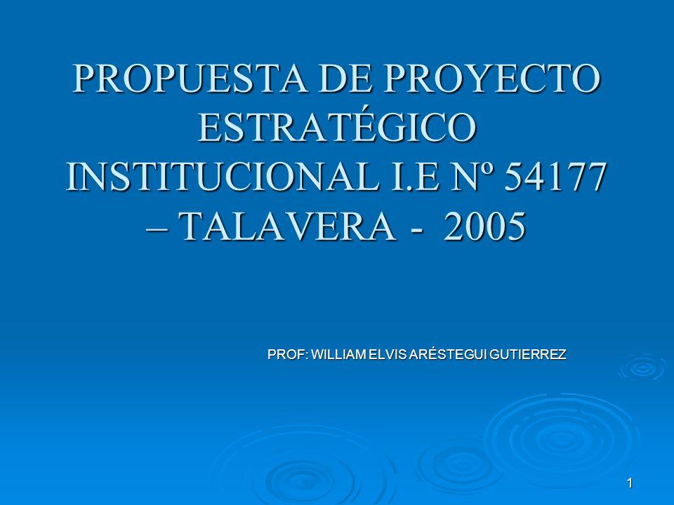 1 PROPUESTA DE PROYECTO ESTRATÉGICO INSTITUCIONAL I.E Nº 54177 – TALAVERA - 2005 PROF: WILLIAM ELVIS ARÉSTEGUI GUTIERREZ PROF: WILLIAM ELVIS ARÉSTEGUI