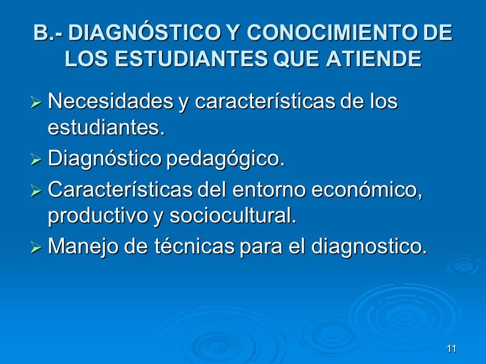 11 B.- DIAGNÓSTICO Y CONOCIMIENTO DE LOS ESTUDIANTES QUE ATIENDE Necesidades y características de los estudiantes. Necesidades y características de lo