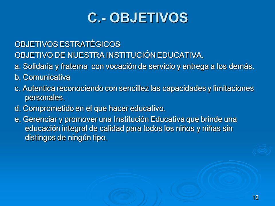 12 C.- OBJETIVOS OBJETIVOS ESTRATÉGICOS OBJETIVO DE NUESTRA INSTITUCIÓN EDUCATIVA. a. Solidaria y fraterna con vocación de servicio y entrega a los de