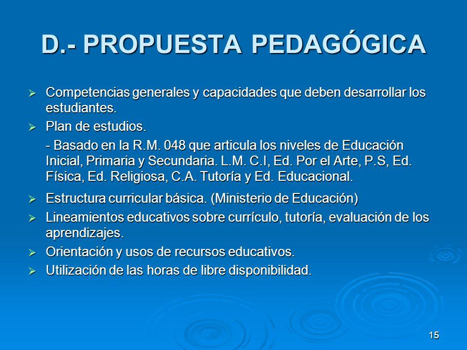 15 D.- PROPUESTA PEDAGÓGICA Competencias generales y capacidades que deben desarrollar los estudiantes. Competencias generales y capacidades que deben