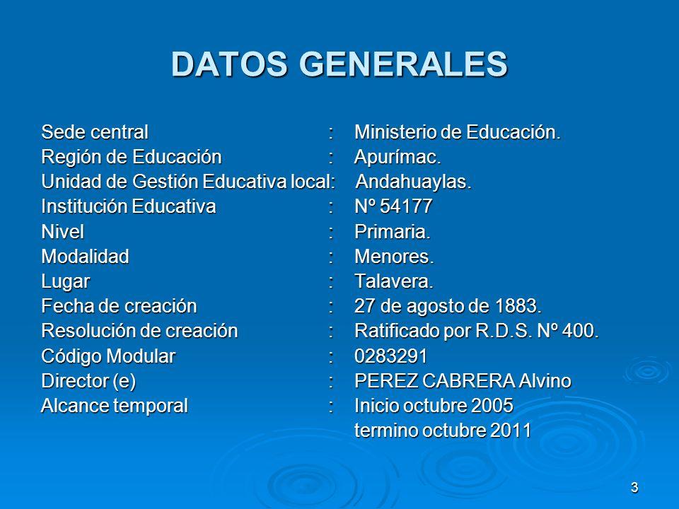 3 DATOS GENERALES Sede central : Ministerio de Educación. Región de Educación : Apurímac. Unidad de Gestión Educativa local: Andahuaylas. Institución