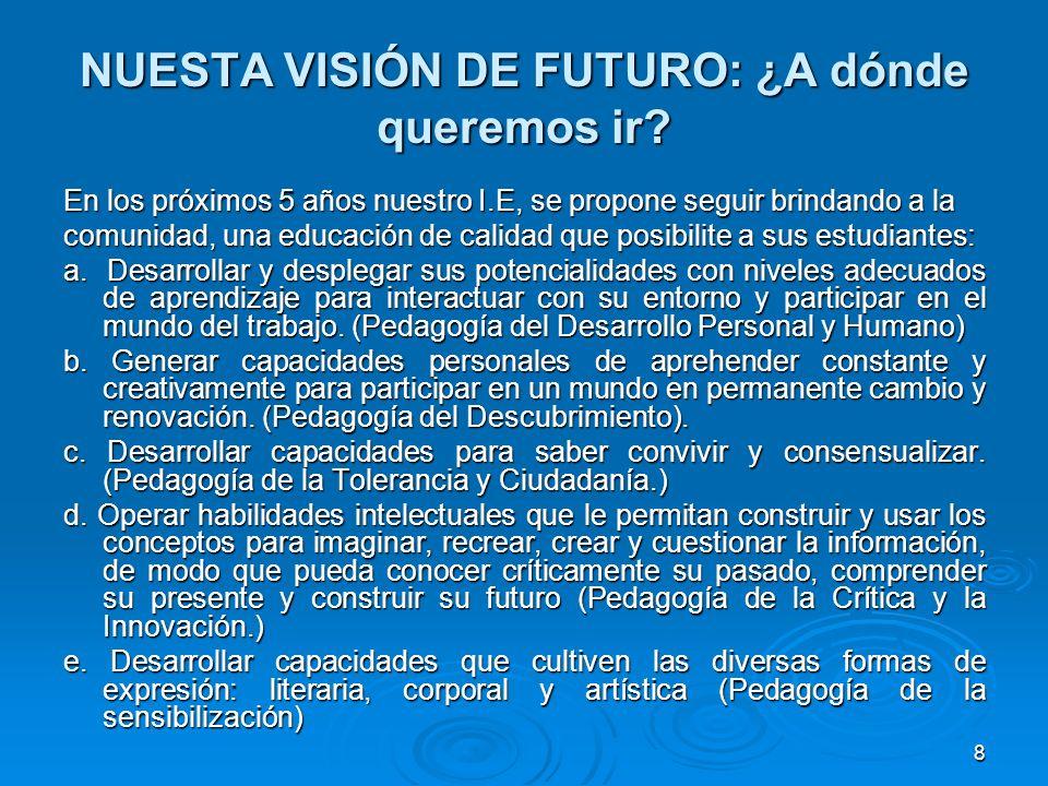 8 NUESTA VISIÓN DE FUTURO: ¿A dónde queremos ir? En los próximos 5 años nuestro I.E, se propone seguir brindando a la comunidad, una educación de cali