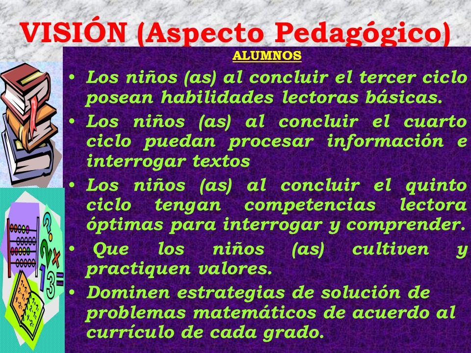 VISIÓN (Aspecto Pedagógico) ALUMNOS Los niños (as) al concluir el tercer ciclo posean habilidades lectoras básicas. Los niños (as) al concluir el cuar