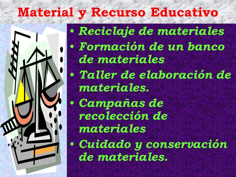 Material y Recurso Educativo Reciclaje de materiales Formación de un banco de materiales Taller de elaboración de materiales. Campañas de recolección