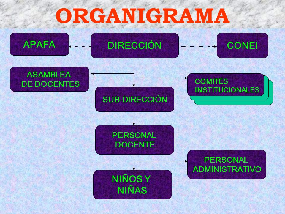 ORGANIGRAMA DIRECCIÓN SUB-DIRECCIÓN CONEI NIÑOS Y NIÑAS ASAMBLEA DE DOCENTES PERSONAL DOCENTE APAFA PERSONAL ADMINISTRATIVO COMITÉS INSTITUCIONALES