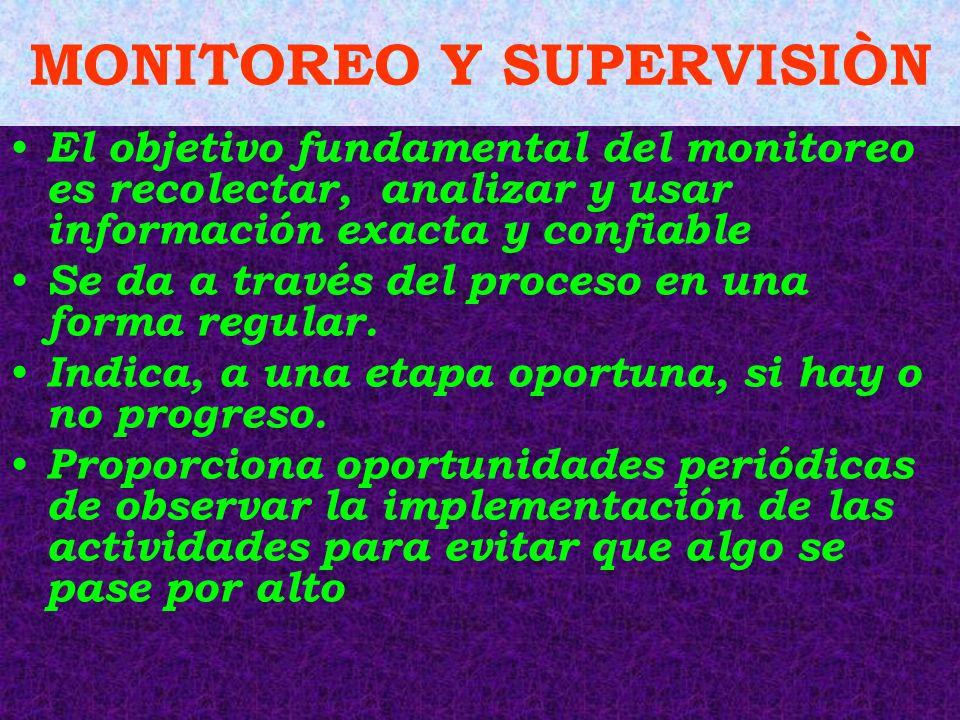 MONITOREO Y SUPERVISIÒN El objetivo fundamental del monitoreo es recolectar, analizar y usar información exacta y confiable Se da a través del proceso