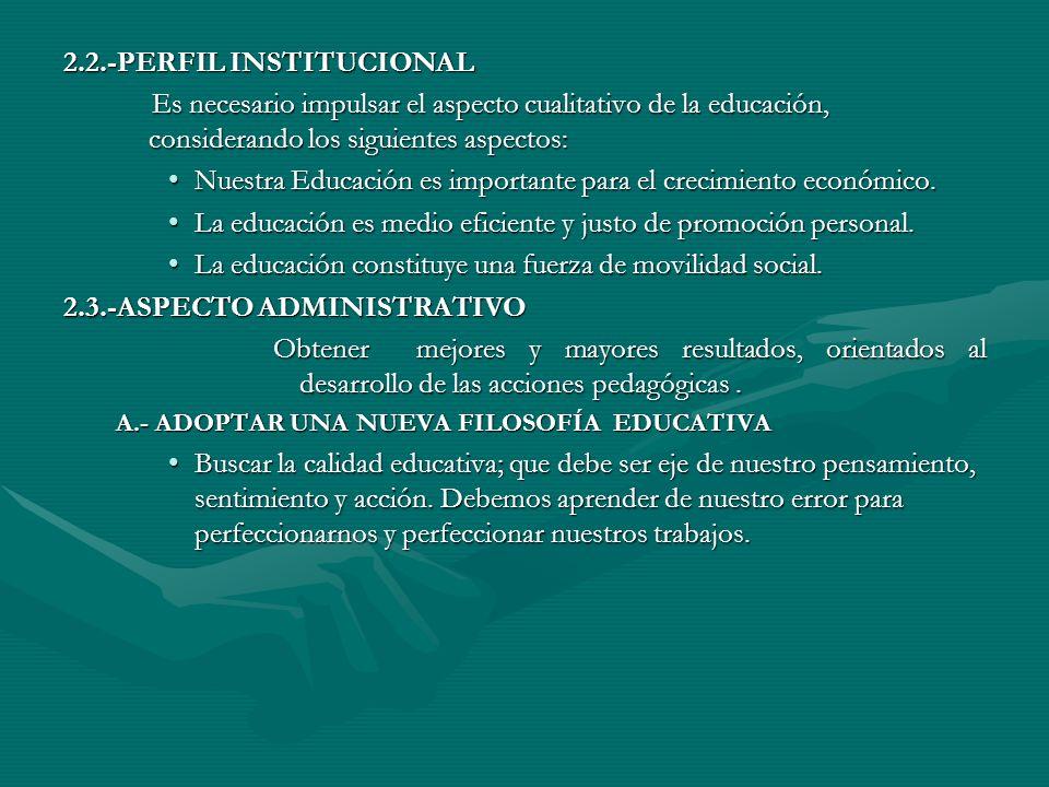 II.-OBJETIVOS ESTRATÉGICOS 2.1.-OBJETIVOS Y METAS DE LA INSTITUCIÓN EDUCATIVA A.Objetivos : -Desarrollar las capacidades intelectuales y afectivas en los alumnos dentro de un contexto socio-cultural dentro de ambientes pedagógicos óptimos y adecuados.