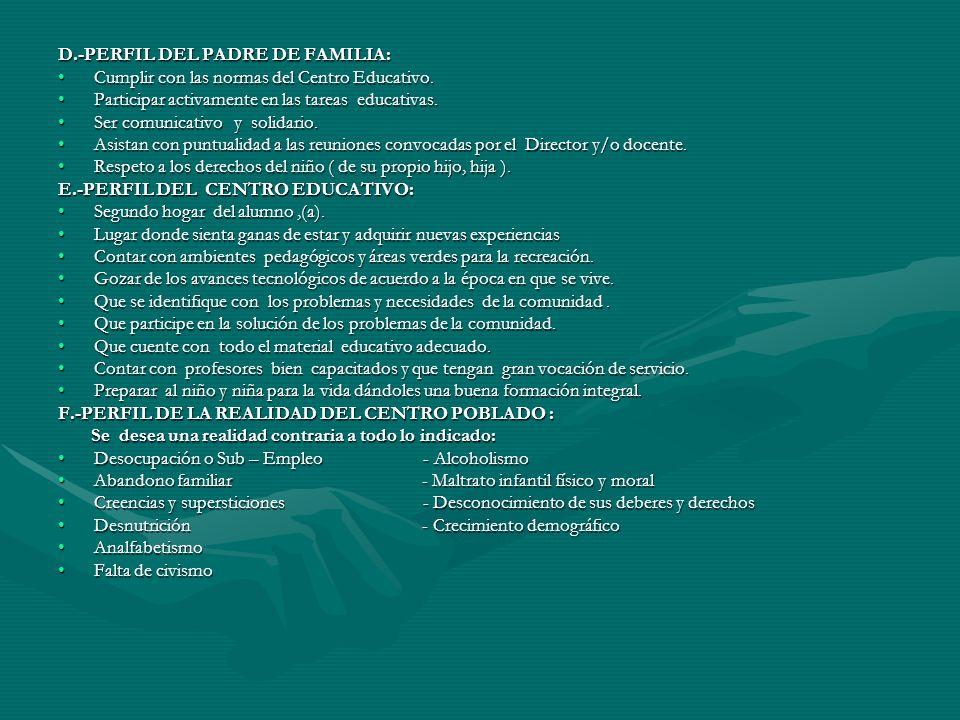 3.3-PERFILES IDEALES A.-PERFIL DEL EDUCANDO: –Dinámico comunicativo.