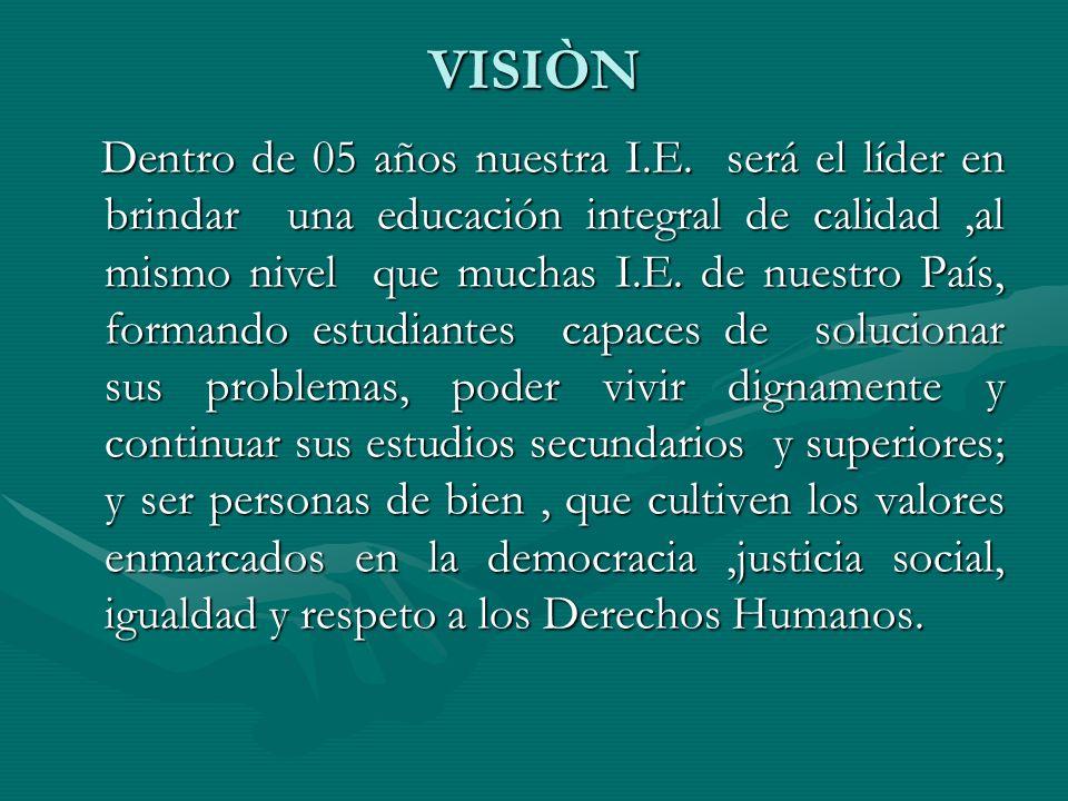 VISIÒN Dentro de 05 años nuestra I.E.