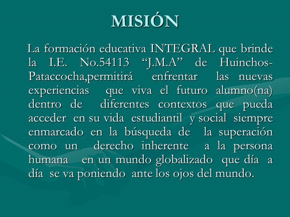 VISIÒN Dentro de 05 años nuestra I.E. será el líder en brindar una educación integral de calidad,al mismo nivel que muchas I.E. de nuestro País, forma
